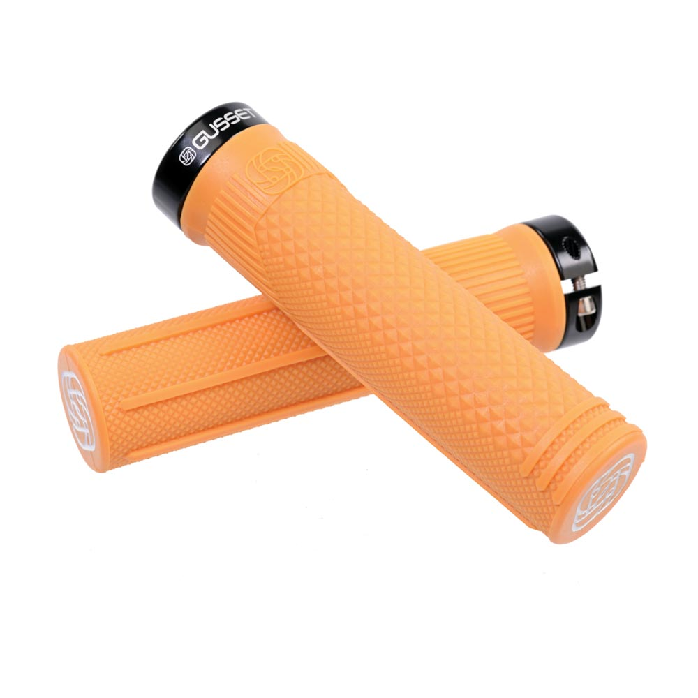 Fluro Orange Gusset S2 Clamp-On Grips Pair
